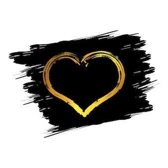 Złote serca. ręcznie rysowane pędzle serca. ręcznie malowany kształt serca. symbol miłości walentynki kartki ślubne. ilustracja wektorowa