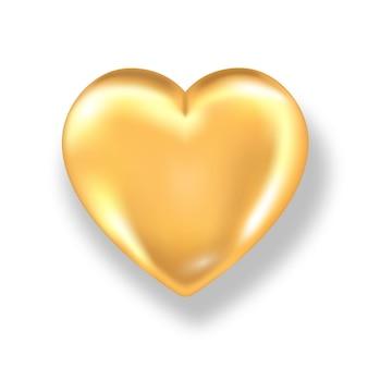Złote serce błyszczące z cieniem na białym tle.