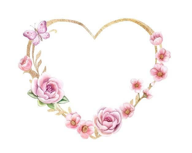 Złote serce. kwiatowa ramka z różowymi różami