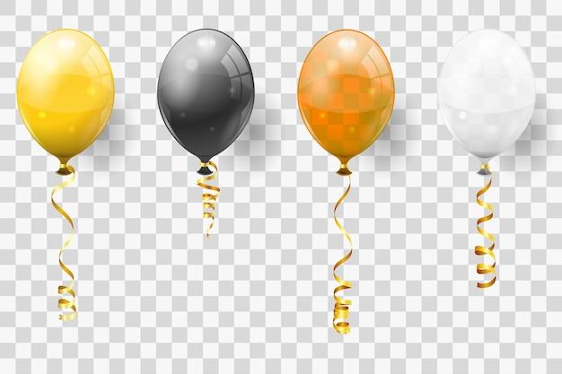 Złote serpentyny i złote, czarne, białe balony. skręcone wstążki z błyszczącymi balonami na urodziny, karnawał, boże narodzenie, imprezę, nowy rok. ilustracja wektorowa na białym tle na przezroczystym tle
