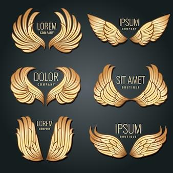 Złote skrzydło logo wektor zestaw. anioły i złote elitarne etykiety ptaków do projektowania tożsamości korporacyjnej
