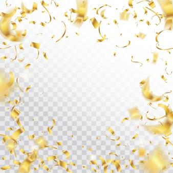 Złote spadające błyszczący konfetti błyszczy tło.