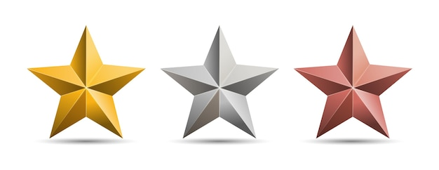 Złote, srebrne, brązowe gwiazdy metalowe na białym tle.