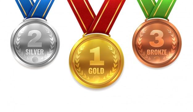 Złote srebrne brązowe medale. zwycięzca błyszczący okrąg medal honor honor mistrz ceremonia nagrody trofeum miejsce sport wstążka najlepsza nagroda