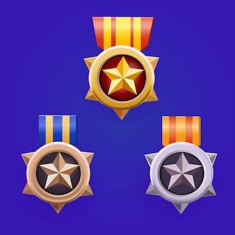 Złote, srebrne, brązowe odznaki medalowe zdobywcy zestaw dla interfejsu gry
