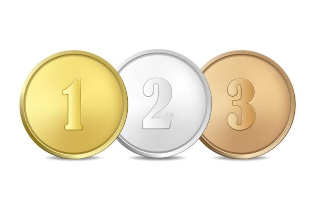 Złote, srebrne i brązowe medale nagrody na białym tle. pierwsza, druga, trzecia nagroda.