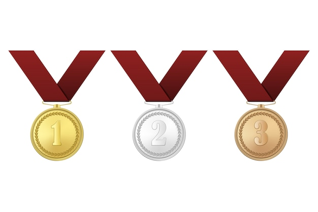 Złote, srebrne i brązowe medale z czerwonymi wstążkami na białym tle. pierwsza, druga, trzecia nagroda.
