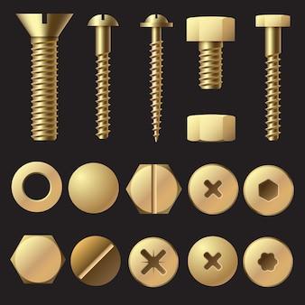 Złote śruby i wkręty. śruba i śruba do nitonakrętki. zestaw na białym tle złote elementy złączne
