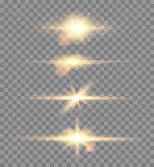 Złote światła błyszczy na białym tle. zestaw świecących gwiazd