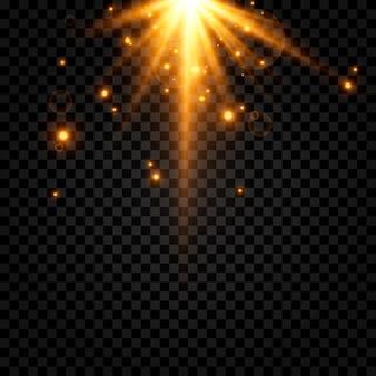 Złote światło błysk światła magiczny blask drobinki iskier słońce promienie słońca png światło png