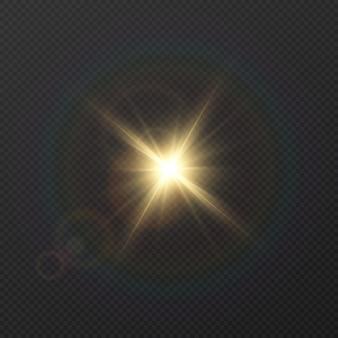 Złote światło z blaskiem. słońce, promienie słoneczne