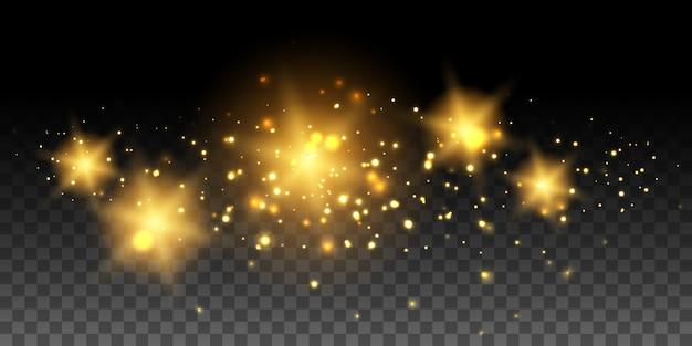 Złote świecące gwiazdy i efekty