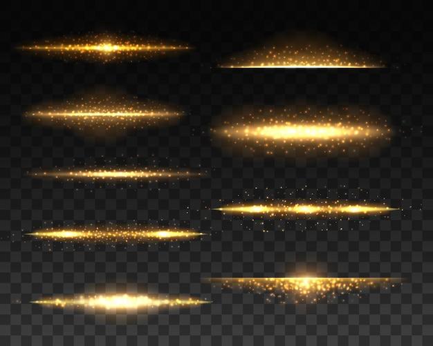 Złote świecące linie z realistycznymi efektami świetlnymi. 3d złote iskry, flary i błyszczące błyski, lśniące linie z jasnymi błyskami i żółtymi drobinami na przezroczystym tle
