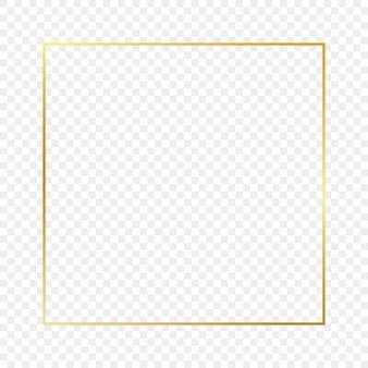 Złote świecące ramki kwadratowe na przezroczystym tle. błyszcząca ramka ze świecącymi efektami. ilustracja wektorowa.