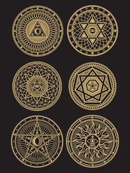 Złote Symbole Okultystyczne, Mistyczne, Duchowe, Ezoteryczne Premium Wektorów