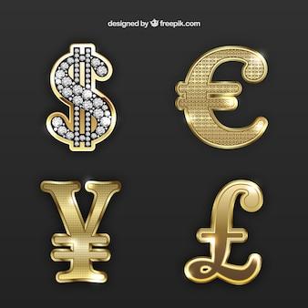 Złote symbole pieniądze