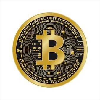 Złote symbole waluty cyfrowej bitcoin, futurystyczne pieniądze cyfrowe,
