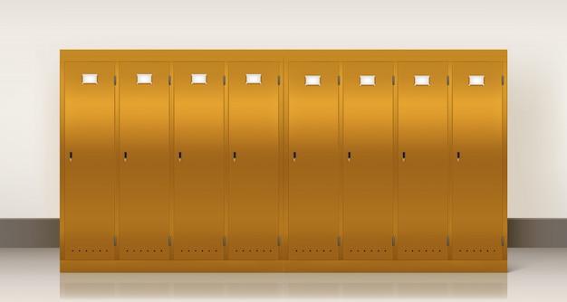 Złote szafki, szatnia szkolna lub siłownia