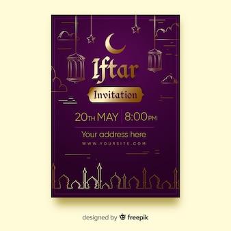 Złote szczegóły płaskiego zaproszenia na imprezę iftar