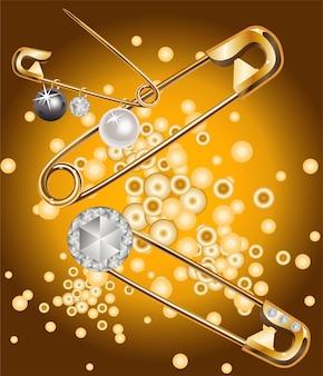 Złote szpilki z perłami