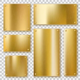 Złote talerze. złoty metalik żółty talerz, błyszczący brązowy sztandar. polerowana teksturowana pusta etykieta ze śrubami realistyczne szablony