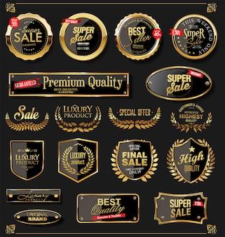 Złote tarcze kolekcja wieńców laurowych i odznak