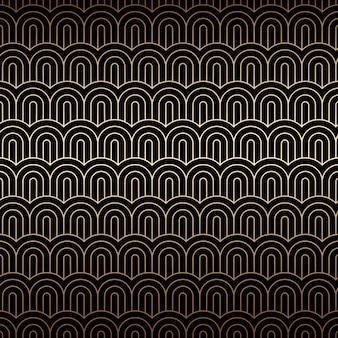 Złote tło bezszwowe z chińskimi falami, wzór w stylu art deco