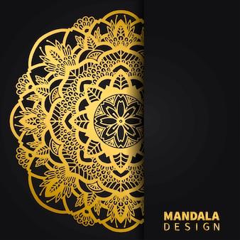 Złote tło mandali. etniczny okrągły ornament. ręcznie rysowane indyjski motyw. unikalny złoty kwiatowy wzór.