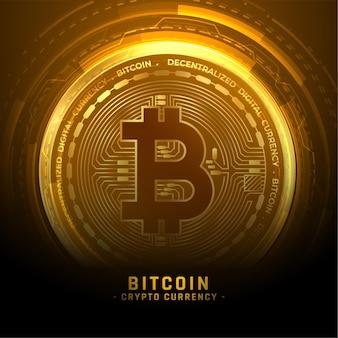 Złote tło monety kryptowaluty bitcoin