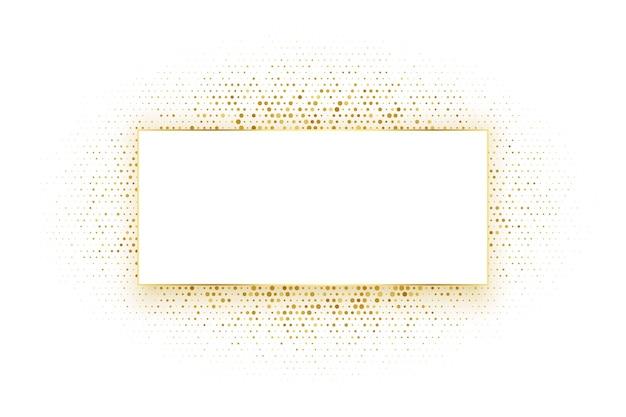 Złote tło ramki prostokąta półtonów
