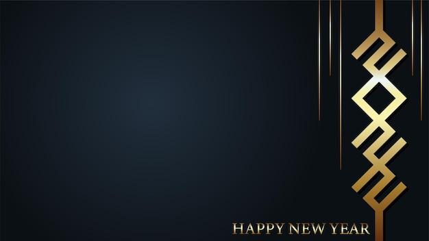 Złote tło szczęśliwego nowego roku 2022. 2022 tekst wektor odpowiedni projekt ilustracji na pozdrowienia, zaproszenia, baner lub tło.