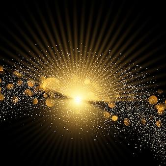 Złote tło z gwiazdami i brokatem