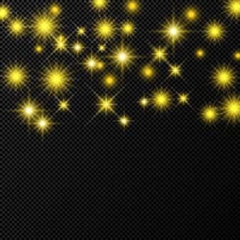 Złote tło z gwiazdami i kurzem błyszczy na białym tle na ciemnym przezroczystym tle. uroczysty magiczny świąteczny efekt świetlny. ilustracja wektorowa.