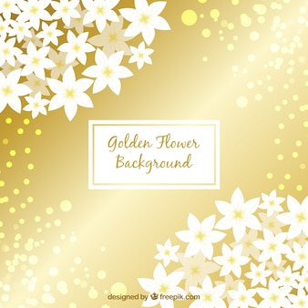Złote tło z kwiatami