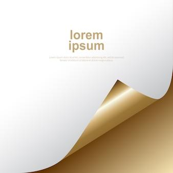 Złote tło z zagięty szablon rogu i tekstu