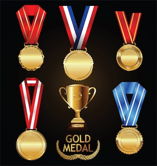 Złote trofeum i medal z kolekcji wieniec laurowy wektor
