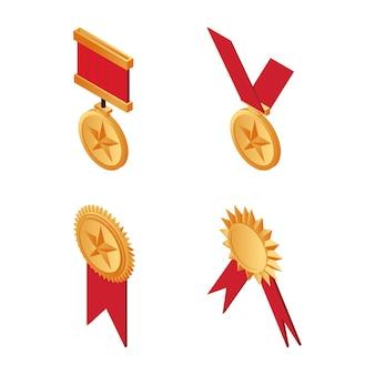 Złote trofeum medale z czerwonymi wstążkami izometryczny ilustracja na białym tle.