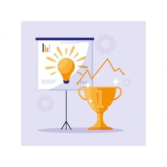 Złote trofeum na podium, udany biznes