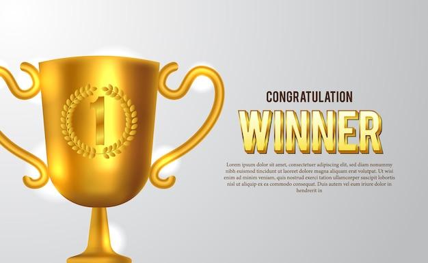 Złote trofeum. ogłoszenie zwycięzcy na scenie olimpiady lub meczu sportowego.