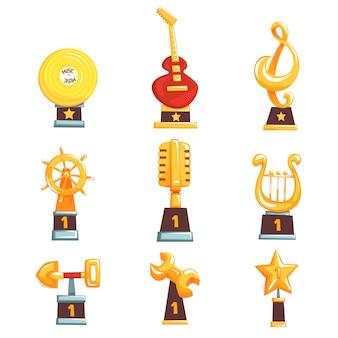 Złote trofeum puchary, nagrody i osiągnięcia zestaw ilustracji kreskówek