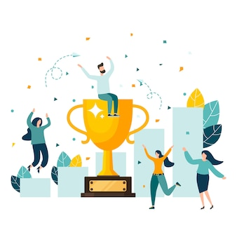 Złote trofeum symbol pucharu drużyny zwycięstwa świętującej zwycięstwonowoczesna ilustracja wektorowa w stylu płaskim