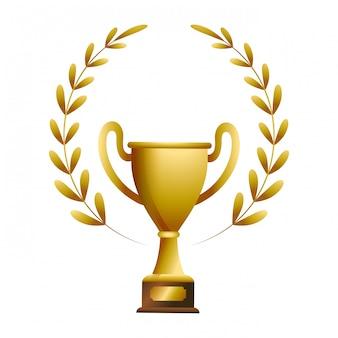 Złote trofeum z laurel whreat