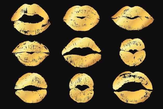 Złote usta z mieniącym się, złotym makijażem