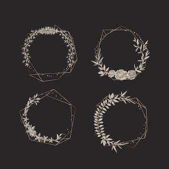 Złote wielokątne ramki z elegancką kolekcją kwiatów