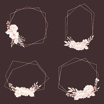 Złote wielokątne ramki z eleganckimi kwiatami