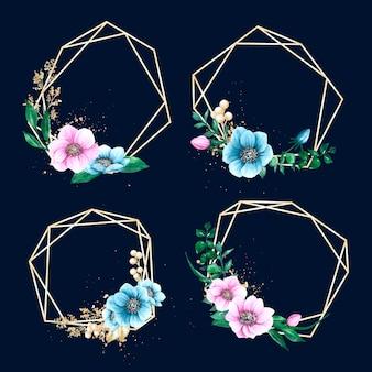 Złote wielokątne ramki z kwiatami