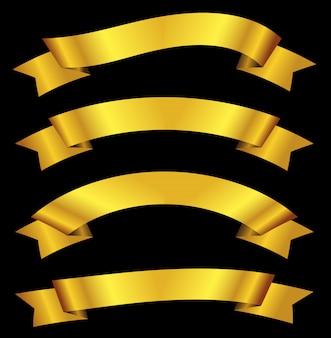 Złote wstążki banery