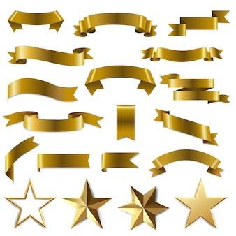 Złote wstążki i gwiazdy ustawiają białe tło z siatki gradientu