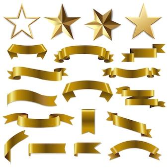 Złote wstążki i gwiazdy ustawione z gradientowej siatki.