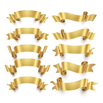 Złote wstążki i złote nagrody banery wektor